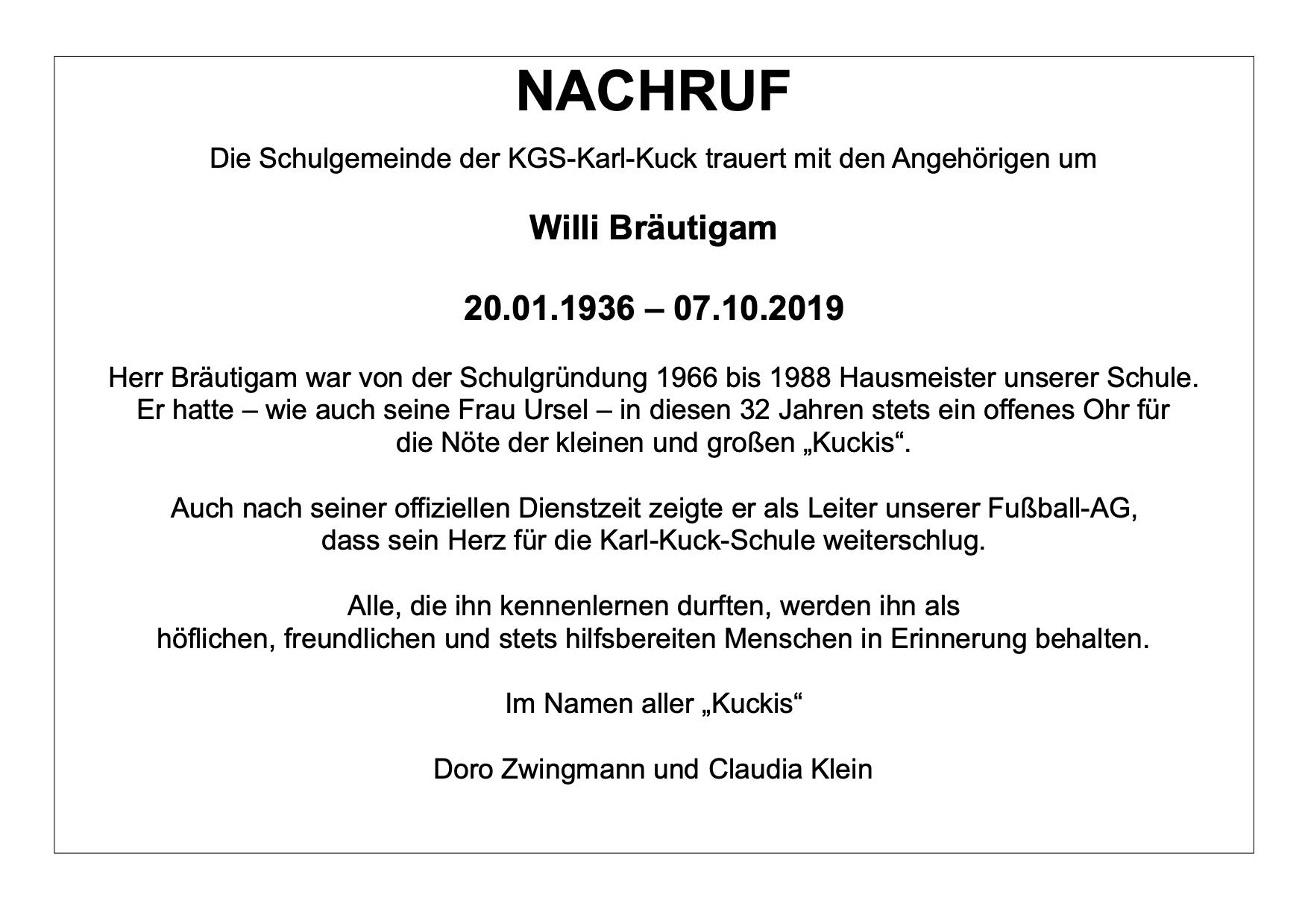 NACHRUF Willi Bräutigam